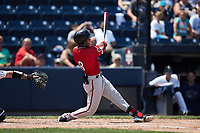 Jecksson Flores (8) of the Rochester Red Wings at bat against the Scranton/Wilkes-Barre RailRiders at PNC Field on July 25, 2021 in Moosic, Pennsylvania. (Brian Westerholt/Four Seam Images)