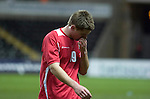 Nationwide Friendly International Wales v Sweden at the Liberty Stadium in Swansea : Wales' Sam Vokes walks off the field after being beaten by Sweden...