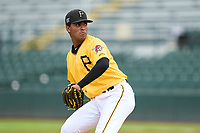FCL Pirates Gold pitcher Carlos Campos (17) during a game against the FCL Rays on July 26, 2021 at LECOM Park in Bradenton, Florida. (Mike Janes/Four Seam Images)
