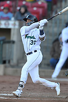 Cedar Rapids Kernels shortstop Royce Lewis (30) swings at a pitch against the Quad Cities River Bandits at Veterans Memorial Stadium on April 7, 2018 in Cedar Rapids, Iowa. The Kernels won 4-3.  (Dennis Hubbard/Four Seam Images)