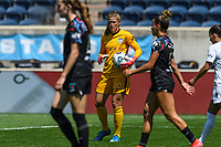 BRIDGEVIEW, IL - JUNE 5: Alyssa Naeher #1 of the Chicago Red Stars holds the ball during a game between North Carolina Courage and Chicago Red Stars at SeatGeek Stadium on June 5, 2021 in Bridgeview, Illinois.