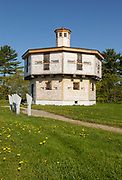 Octagonal blockhouse at Fort Edgecomb in Edgecomb, Maine USA. This fort was built in 1808-1809, and is listed on the National Register of Historic Places.