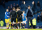 Rangers v St Johnstone…16.12.17…  Ibrox…  SPFL<br />Tommy Wright takes the applause of the travelling fans at full time<br />Picture by Graeme Hart. <br />Copyright Perthshire Picture Agency<br />Tel: 01738 623350  Mobile: 07990 594431