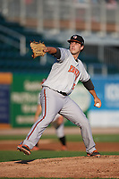 Bowie Baysox starting pitcher John Means (25) delivers a pitch during a game against the Harrisburg Senators on May 16, 2017 at FNB Field in Harrisburg, Pennsylvania.  Bowie defeated Harrisburg 6-4.  (Mike Janes/Four Seam Images)