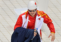 July 28, 2012: Shiwen Ye arrives on deck to compete in Women's 400m Individual Medley at the Aquatics Center on day one of 2012 Olympic Games in London, United Kingdom.