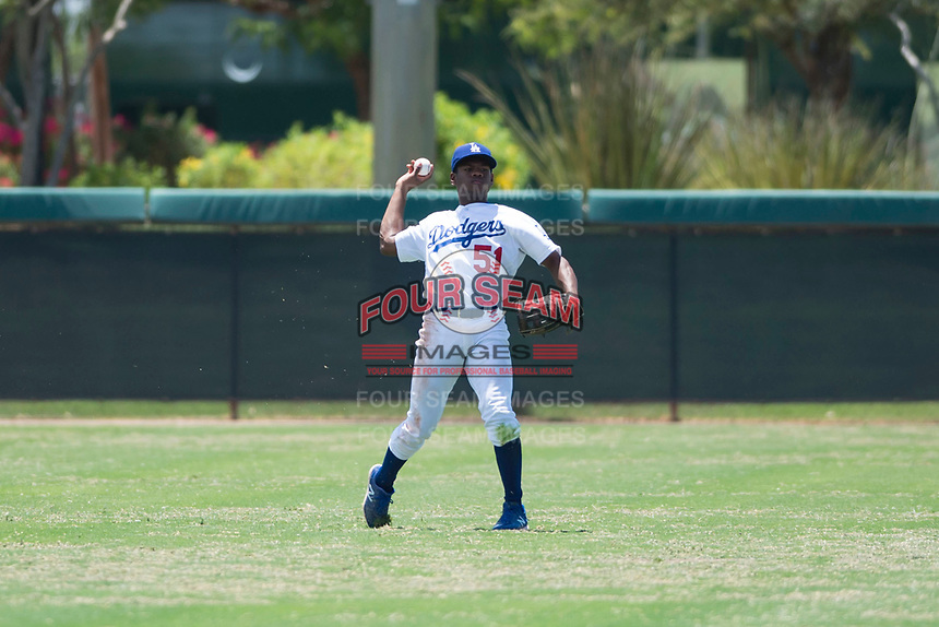 AZL Dodgers center fielder Aldrich De Jongh (51) throws to the infield during an Arizona League game against the AZL Padres 2 at Camelback Ranch on July 4, 2018 in Glendale, Arizona. The AZL Dodgers defeated the AZL Padres 2 9-8. (Zachary Lucy/Four Seam Images)
