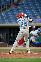 Clearwater Threshers left fielder Matt Vierling (28) at bat during a Florida State League game against the Dunedin Blue Jays on April 4, 2019 at Spectrum Field in Clearwater, Florida.  Dunedin defeated Clearwater 11-1.  (Mike Janes/Four Seam Images)