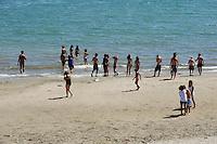 """Colonie estive, riviera adriatica, Bellaria Igea Marina. Colonia """"Ragazzi e Cinema"""". <br /> La spiaggia riservata."""