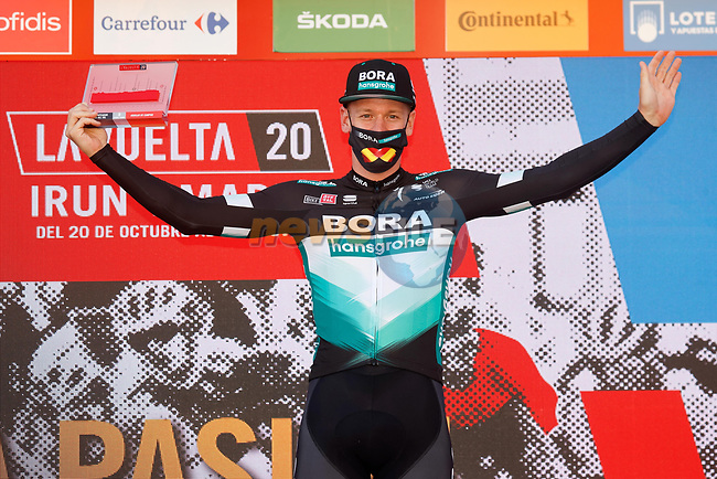 Pascal Ackermann (GER) Bora-Hansgrohe is awarded the stage win after Sam Bennett (IRL) Deceuninck-Quick Step is  disqualified at the end of Stage 9 of the Vuelta Espana 2020, running 157.7km from B.M. Cid Campeador. Castrillo del Val to Aguilar de Campo, Spain. 29th October 2020.    <br /> Picture: Luis Angel Gomez/PhotoSportGomez | Cyclefile<br /> <br /> All photos usage must carry mandatory copyright credit (© Cyclefile | Luis Angel Gomez/PhotoSportGomez)