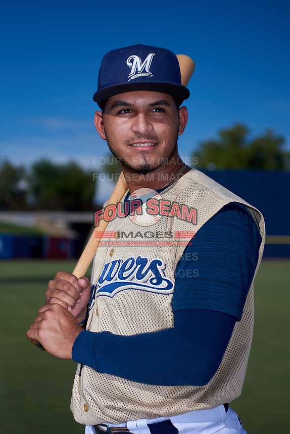 AZL Brewers Gold Andres Melendez (22) poses for a photo before an Arizona League game against the AZL Brewers Blue on July 13, 2019 at American Family Fields of Phoenix in Phoenix, Arizona. The AZL Brewers Blue defeated the AZL Brewers Gold 6-0. (Zachary Lucy/Four Seam Images)