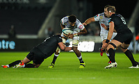 8th October 2021;  Swansea.com Stadium, Swansea, Wales; United Rugby Championship, Ospreys versus Sharks; Hyron Andrews of Cell C Sharks is tackled by Sam Parry of Ospreys