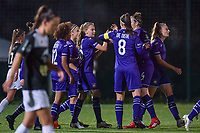Anderlecht players celebrate goal of Anderlecht forward Jarne Teulings (16) (M) during a female soccer game between RSC Anderlecht Dames and Eendracht Aalst Ladies  on the fourth matchday of the 2020 - 2021 season of Belgian Womens Super League , Tuesday 13 th of October 2020  in ANDERLECHT , Belgium . PHOTO SPORTPIX.BE | SPP | STIJN AUDOOREN