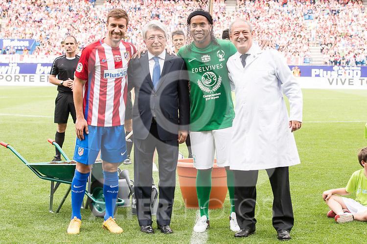 Atletico de Madrid Legends's Gabi Fernandez, Atletico de Madrid president Enrique Cerezo and World Legend's Ronaldinho during friendly match to farewell  to Vicente Calderon Stadium in Madrid, May 28, 2017. Spain.<br /> (ALTERPHOTOS/BorjaB.Hojas)