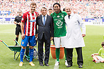 Atletico de Madrid Legends's Gabi Fernandez, Atletico de Madrid president Enrique Cerezo and World Legend's Ronaldinho during friendly match to farewell  to Vicente Calderon Stadium in Madrid, May 28, 2017. Spain.<br /> (ALTERPHOTOS/BorjaB.Hojas)