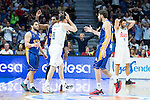 Real Madrid's Maciulis and Felipe Reyes and UCAM Murcia's Rojas, Facundo Campazzo and Jose Angel Antelo during the first match of the playoff at Barclaycard Center in Madrid. May 27, 2016. (ALTERPHOTOS/BorjaB.Hojas)