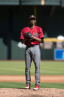 Arizona Diamondbacks relief pitcher Edwin Quezada (45) prepares to deliver a pitch to the plate during an Instructional League game against the Kansas City Royals at Chase Field on October 14, 2017 in Phoenix, Arizona. (Zachary Lucy/Four Seam Images)