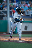 Tri-City Dust Devils third baseman Jose Lezama (18) runs down the first base line during a Northwest League game against the Everett AquaSox at Everett Memorial Stadium on September 3, 2018 in Everett, Washington. The Everett AquaSox defeated the Tri-City Dust Devils by a score of 8-3. (Zachary Lucy/Four Seam Images)
