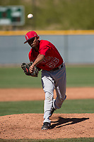Los Angeles Angels relief pitcher Adrian Almeida (56) during a Minor League Spring Training game against the Chicago Cubs at Sloan Park on March 20, 2018 in Mesa, Arizona. (Zachary Lucy/Four Seam Images)