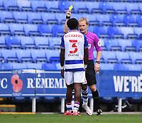 3rd October 2020; Madejski Stadium, Reading, Berkshire, England; English Football League Championship Football, Reading versus Watford; Omar Richards of Reading receives a yellow card