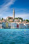 Croatia, Istria, Rovinj - Perl of Istria: old town with St Eufemija church | Kroatien, Istrien, Rovinj - die Perle Istriens: die auf einer Landzunge gelegene Altstadt mit der Kirche St. Eufemija
