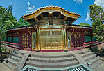 The entrance of Toshogu Shinto shrine located in Ueno, Tokyo, Japan. First established in 1627 by Tōdō Takatora and renovated in 1651 by Tokugawa Iemitsu, the shrine remains mostly intact since that time, making it a great example of Shinto architecture of the Edo period. Taken with a fisheye lens.