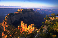 Woton's Throne, sunrise, Cape Royal Kaibab National Forest  Grand Canyon National Park  North Rim. Arizona, Cape Royal, Kaibab , Grand Canyon National Park, North Rim.