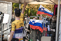 Race winner Primoz Roglic (SVN/Jumbo-Visma) greeted by some Slovenian fans<br /> <br /> 106TH Liège-Bastogne-Liège 2020 (1.UWT)<br /> 1 Day Race Liège-Liège 257km