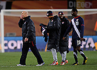 USA manager Bob Bradley shows his disbelief while walking off the field. USA tied Slovenia 2-2 in the 2010 FIFA World Cup at Ellis Park in Johannesburg, South Africa on June 18th, 2010.