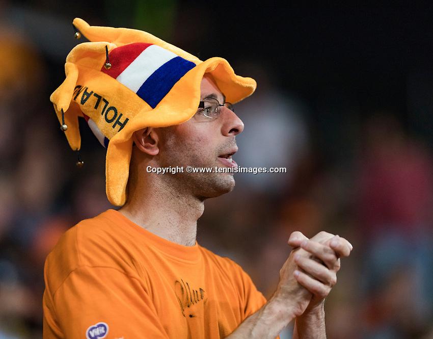 The Hague, The Netherlands, September 17, 2017,  Sportcampus , Davis Cup Netherlands - Chech Republic, Dutch supporter<br /> Photo: Tennisimages/Henk Koster
