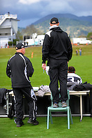 The Hawkes Bay coaches watch the championship match between Hawkes Bay and Southland in the Jack Hobbs Memorial Under-19 Rugby Tournament at Owen Delaney Park in Taupo, New Zealand on Thursday, 15 September 2016. Photo: Dave Lintott / lintottphoto.co.nz