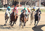 Good Lord with Terry Thompson (green cap) leads King Kitten with ET Baird (red cap) and eventual winner Key Largo with Julien Leparoux (black cap) in a maiden claiming for 2yo at Churchill Downs. 11.08.2009