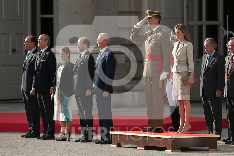 King Felipe VI of Spain and Queen Letizia of Spain attend Armed Forces and Guardia Civil greeting ceremony at Royal Palace in Madrid, Spain. June 25, 2014. (ALTERPHOTOS/Victor Blanco)