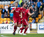 St Johnstone v Aberdeen…15.09.18…   McDiarmid Park     SPFL<br />Niall McGinn celebrates his goal<br />Picture by Graeme Hart. <br />Copyright Perthshire Picture Agency<br />Tel: 01738 623350  Mobile: 07990 594431