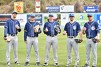 Asheville Tourists starting pitchers Jack Wynkoop (11), Peter Lambert (24), Parker French (33), David Hill (34) and Trey Killian (21), pose for photo during media day at McCormick Field on April 6, 2016 in Asheville, North Carolina. (Tony Farlow/Four Seam Images)