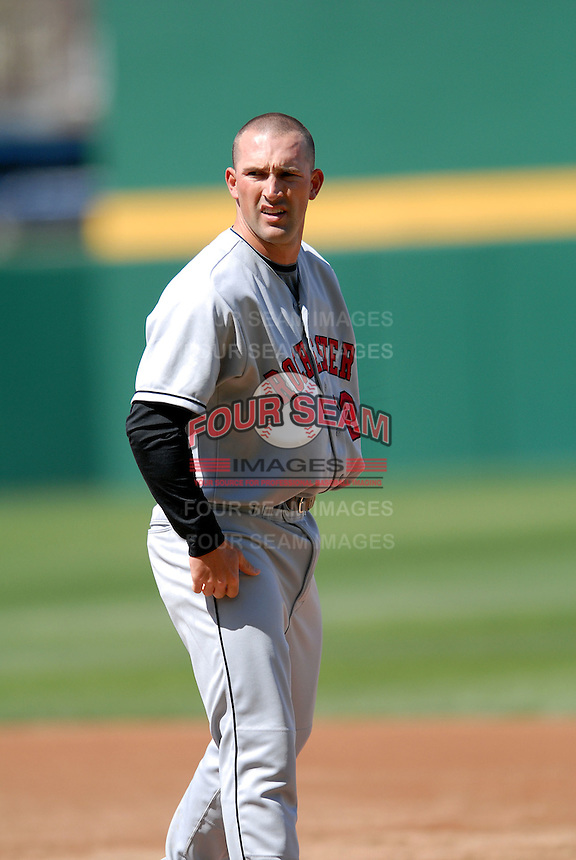 OF Brian Dinkleman (#12) of the Rochester Red Wings, the AAA International League affiliate of the Minnesota Twins, at McCoy Stadium in Pawtucket, RI  (Photo by Ken Babbitt/Four Seam Images)