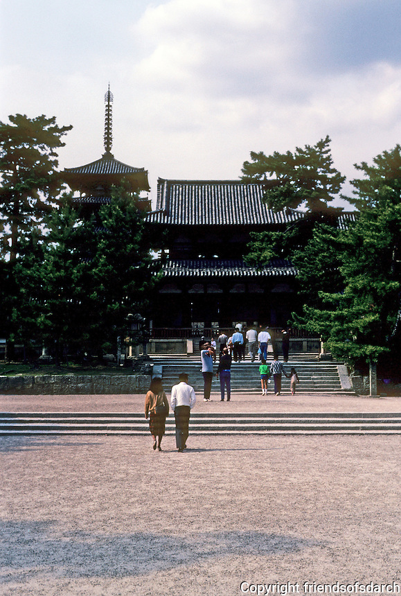 Nara: Horyuji--Looking from South Gate to Middle Gate. Photo '82.