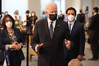 United States President Joe Biden visits a vaccination site in the Immanuel Chapel at the Virginia Theological Seminary in Alexandria, Virginia on Tuesday, April 6, 2021. The President said he expects a significant portion of the population to be vaccinated by the end of the summer. <br /> Credit: Oliver Contreras / Pool via CNP /MediaPunch