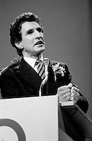 FILE PHOTO : Guy Bertrand<br /> , Hommage a Rene Levesque, le 27 septembre 1985<br /> <br /> PHOTO : Denis Alix -  Agence Quebec Presse