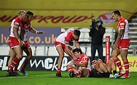 20th November 2020; Totally Wicked Stadium, Saint Helens, Merseyside, England; BetFred Super League Playoff Rugby, Saint Helens Saints v Catalan Dragons; Lachlan Coote of St Helens celebrates his 15th minute try with his team mates