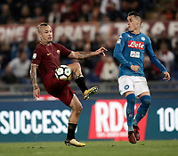 Calcio, Serie A: Roma, stadio Olimpico, 14 ottobre 2017.<br /> Roma's Radja Nainggolan (l) in action with Napoli's José Maria Callejon during the Italian Serie A football match between Roma and Napoli at Rome's Olympic stadium, October14, 2017.<br /> UPDATE IMAGES PRESS/Isabella Bonotto