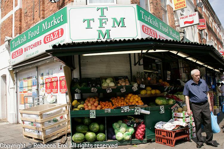 Turkish Food Market on Green Lanes in Haringey, London, UK
