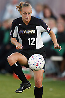 Krista Davey of the NY Power steadies a ball. The Freedom defeated the Power 4-2 on Saturday August 10, at Mitchel Athletic Complex, Uniondale, NY.