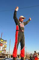 Apr 16, 2011; Surprise, AZ USA; LOORRS driver Chris Brandt celebrates after winning round 3 at Speedworld Off Road Park. Mandatory Credit: Mark J. Rebilas-.