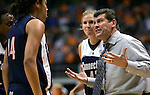 KNOXVILLE, TN--07 JANUARY 2005- 010706JS05-<br /> UConn head coach Geno Auriemma talks to Brittany Hunter, left, during a time-out in their 80-89 loss to Tennessee Saturday at the Thompson-Boling Arena in Knoxville, Tennessee. <br />  --Jim Shannon Republican American--UConn; Tennessee; Thompson-Boling Arena; Knoxville; Tennessee; Geno Auriemma, Brittany Hunter are CQ