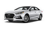 Stock pictures of low aggressive front three quarter view of a 2018 Hyundai Sonata Eco 4 Door Sedan