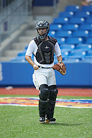 Catcher Charlie Felmlee (10) of Virginia Episcopal High School in Lynchburg, VA during the Atlantic Coast Prospect Showcase hosted by Perfect Game at Truist Point on August 22, 2020 in High Point, NC. (Brian Westerholt/Four Seam Images)