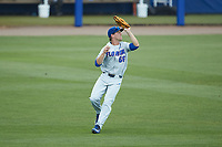 Florida Gators center fielder Ryan Larson (66) catches a fly ball during the game against the Wake Forest Demon Deacons in Game Two of the Gainesville Super Regional of the 2017 College World Series at Alfred McKethan Stadium at Perry Field on June 11, 2017 in Gainesville, Florida.  (Brian Westerholt/Four Seam Images)