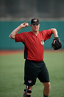Tri-City ValleyCats Derek West (48) during warmups before a NY-Penn League game against the Brooklyn Cyclones on August 17, 2019 at MCU Park in Brooklyn, New York.  Brooklyn defeated Tri-City 2-1.  (Mike Janes/Four Seam Images)