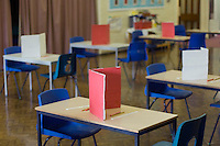 State Primary School.  Exam hall prepared for SATS.