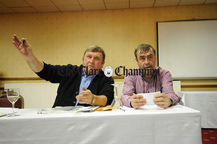 Frankie Neylon with the first of his committee Michael Quinn at the Save Cusack Park meeting in the West County Hotel. Photograph by John Kelly.